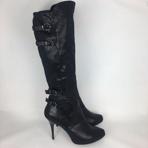 Nina Over Knee Thigh High Black Snakeprint Boot